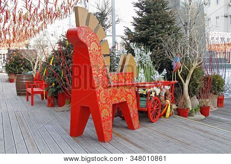Moscow, Russia - March 07, 2019: Horse With Cart As Shrovetide Decoration At Russian National Festiv