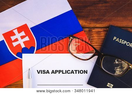Flag Of Slovakia , Visa Application Form And Passport On Table
