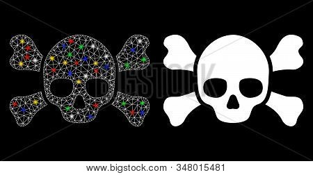 Glowing Mesh Skull Crossbones Icon With Glare Effect. Abstract Illuminated Model Of Skull Crossbones