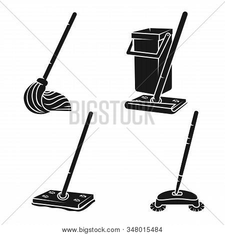 Mop Icons Set. Simple Set Of Mop Vector Icons For Web Design On White Background