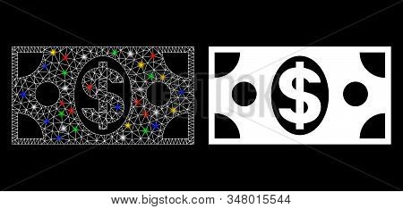 Glowing Mesh Dollar Banknote Icon With Lightspot Effect. Abstract Illuminated Model Of Dollar Bankno