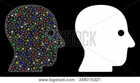 Glossy Mesh Silent Head Icon With Glow Effect. Abstract Illuminated Model Of Silent Head. Shiny Wire
