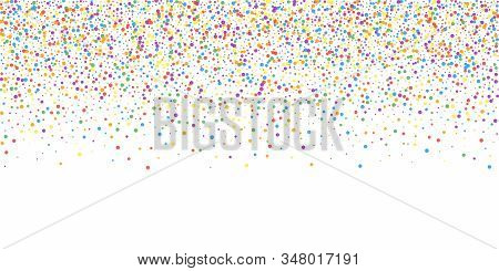 Festive Confetti. Celebration Stars. Rainbow Confetti On White Background. Divine Festive Overlay Te