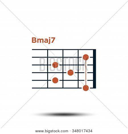 Bmaj7, Basic Guitar Chord Chart Icon Vector Template