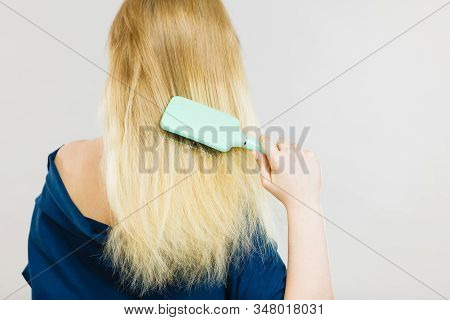 Woman Combing Her Hair With Brush. Young Female With Beautiful Natural Blond Straight Long Hairs, St