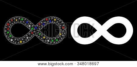 Glossy Mesh Infinity Icon With Sparkle Effect. Abstract Illuminated Model Of Infinity. Shiny Wire Ca