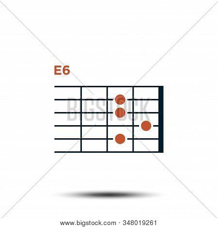 E6, Basic Guitar Chord Chart Icon Vector Template