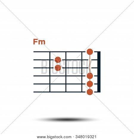 Fm, Basic Guitar Chord Chart Icon Vector Template