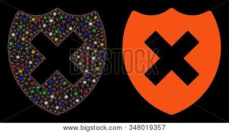 Bright Mesh Security Shield Fail Icon With Glow Effect. Abstract Illuminated Model Of Security Shiel