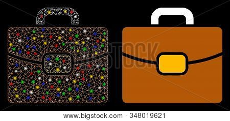 Glowing Mesh Leather Case Icon With Glare Effect. Abstract Illuminated Model Of Leather Case. Shiny
