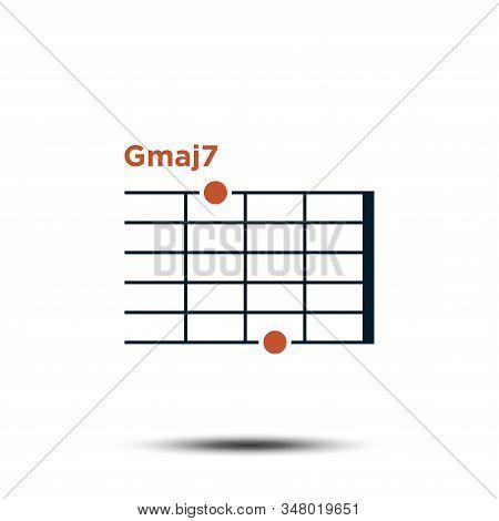 Gmaj7, Basic Guitar Chord Chart Icon Vector Template