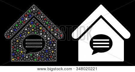 Glowing Mesh Realty Message Icon With Glitter Effect. Abstract Illuminated Model Of Realty Message.