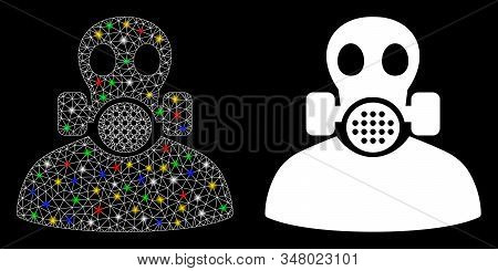 Glowing Mesh Toxic Work Icon With Glitter Effect. Abstract Illuminated Model Of Toxic Work. Shiny Wi