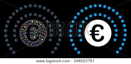 Bright Mesh Euro Shield Sphere Icon With Lightspot Effect. Abstract Illuminated Model Of Euro Shield