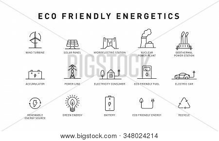 Set Of Green Energy Thin Line Icons. Icons For Renewable Energy, Green Technology. Design Elements F