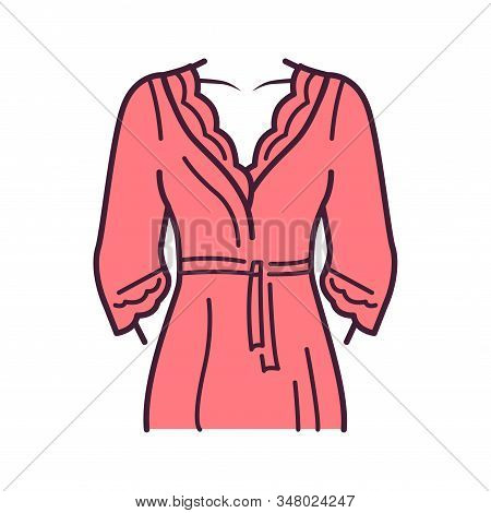 Bathrobe Lingerie Color Line Icon. Dressing Gown. Housecoat Or Morning Gown Is A Robe, A Loose-fitti