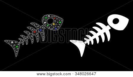 Flare Mesh Fish Skeleton Icon With Sparkle Effect. Abstract Illuminated Model Of Fish Skeleton. Shin