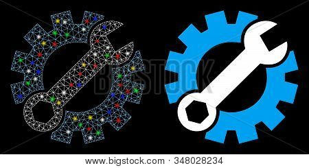 Bright Mesh Setup Tools Icon With Glow Effect. Abstract Illuminated Model Of Setup Tools. Shiny Wire