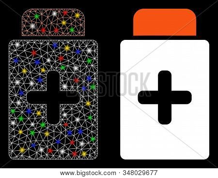 Glowing Mesh Medication Bottle Icon With Glitter Effect. Abstract Illuminated Model Of Medication Bo