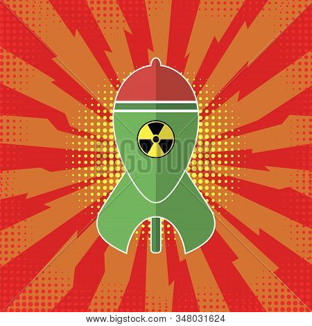 Green Atomic Bomb With Radiation Sign On Red Background. Nuclear Rocket. Weapon Icon. Explode Flash,