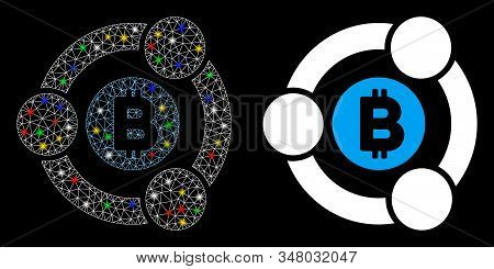 Glowing Mesh Bitcoin Collaboration Icon With Glare Effect. Abstract Illuminated Model Of Bitcoin Col