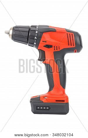 Side View Of Cordless 12v Drill Driver Powered By Li-ion Battery With Keyless Chuck In Red And Black