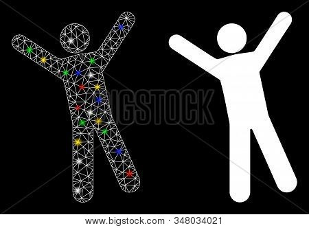 Flare Mesh Man Joy Icon With Glare Effect. Abstract Illuminated Model Of Man Joy. Shiny Wire Carcass