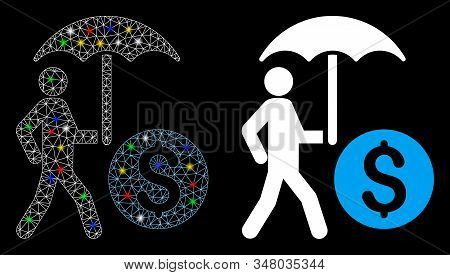 Glowing Mesh Walking Banker With Umbrella Icon With Lightspot Effect. Abstract Illuminated Model Of