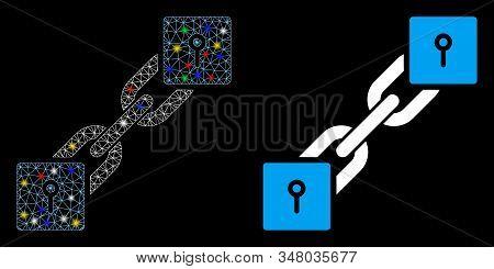 Glossy Mesh Locker Blockchain Icon With Glow Effect. Abstract Illuminated Model Of Locker Blockchain