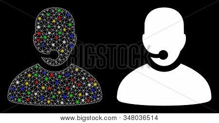 Bright Mesh Call Center Operator Icon With Glow Effect. Abstract Illuminated Model Of Call Center Op