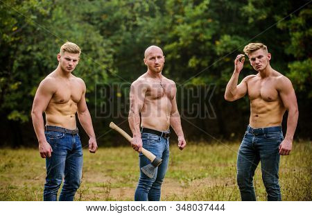 Taking Break. Brutal Guys Pose With Naked Torso. Handsome Guys With Sexy Body. Sports And Leisure. M