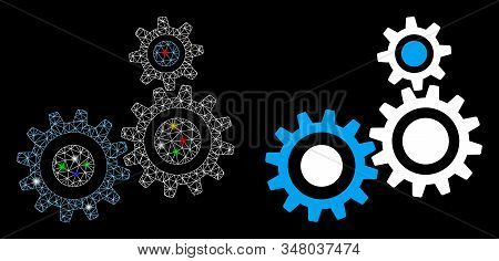 Glossy Mesh Gear Mechanism Icon With Glare Effect. Abstract Illuminated Model Of Gear Mechanism. Shi