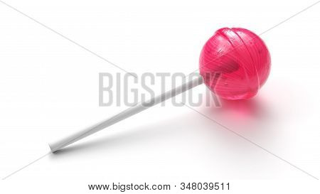 Sweet Pink Lollipop On Stick Isolated On White Background