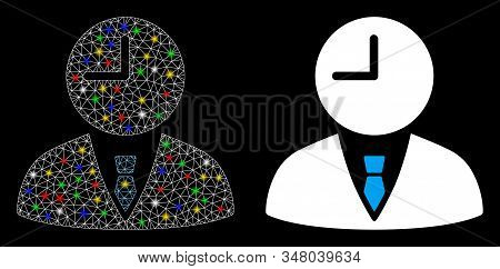 Glowing Mesh Time Manager Icon With Lightspot Effect. Abstract Illuminated Model Of Time Manager. Sh