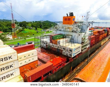 Panama Canal, Panama - December 7, 2019: Hapag-lloyd Cargo Ship Entering The Miraflores Locks In The