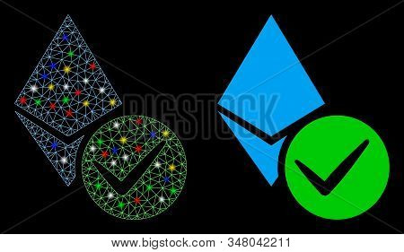 Flare Mesh Valid Ethereum Crystal Icon With Glow Effect. Abstract Illuminated Model Of Valid Ethereu
