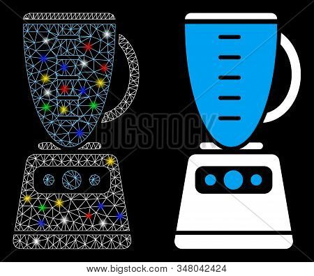 Glowing Mesh Kitchen Mixer Icon With Glare Effect. Abstract Illuminated Model Of Kitchen Mixer. Shin