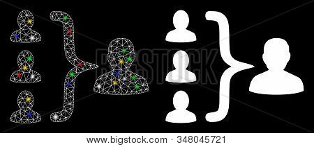 Glossy Mesh Organization Structure Icon With Lightspot Effect. Abstract Illuminated Model Of Organiz