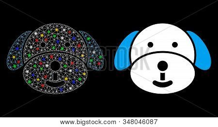 Glowing Mesh Puppy Icon With Sparkle Effect. Abstract Illuminated Model Of Puppy. Shiny Wire Frame P