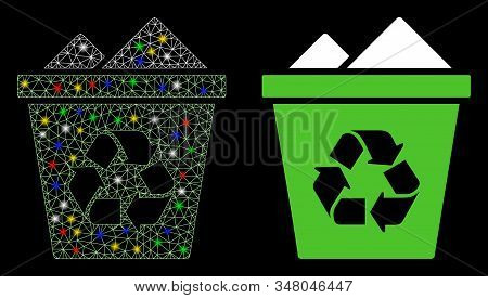 Flare Mesh Full Recycle Bin Icon With Sparkle Effect. Abstract Illuminated Model Of Full Recycle Bin