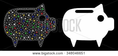 Bright Mesh Piggy Bank Icon With Glow Effect. Abstract Illuminated Model Of Piggy Bank. Shiny Wire F