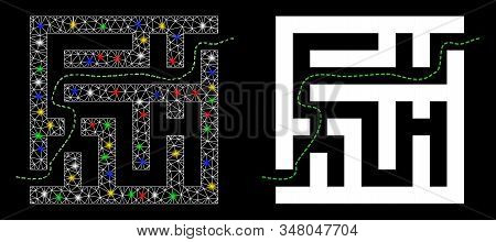 Glossy Mesh Labyrinth Route Icon With Glitter Effect. Abstract Illuminated Model Of Labyrinth Route.