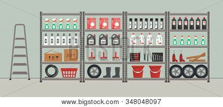Shelving With Household Goods. Storeroom. Warehouse Racks. There Are Tools, Boxes, Buckets, Brushes,