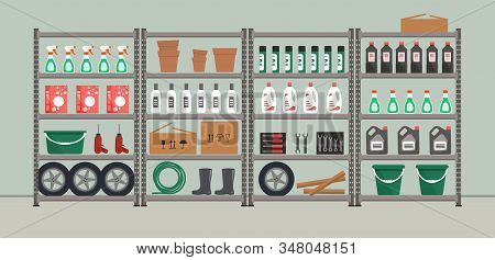 Storeroom. Shelving With Household Goods. Warehouse Racks. There Are Tools, Boxes, Buckets, Bottles