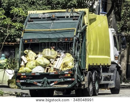 Sao Paulo, Brazil, December 20, 2018. Garbage Truck On Street Of Sao Paulo City, Brazil