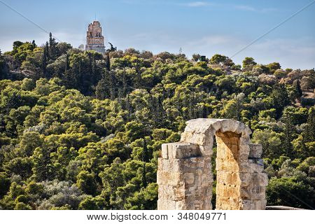 Monument Of Philopappos In Athens Greece On Blue Sky