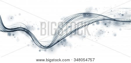 Dynamic Particles Sound Wave Flowing. Dotted Curves Vector Abstract Background. Beautiful 3d Wave Sh