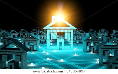 Search For A House In The Internet.conceptual Image Related To House And Technology.3d Illustration