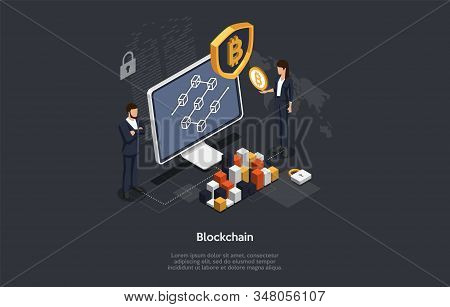 Isometric Blockchain And Cryptocurrency Concept. Business People Are Analysing And Monitoring The Bl
