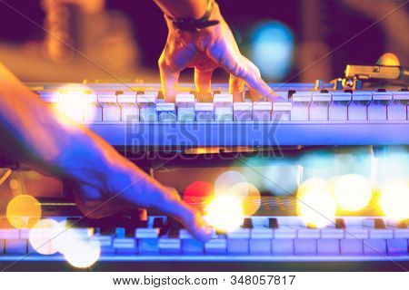 Live Music And Music Festival Background.instrument On Stage And Band.stage Lights.abstract Musical